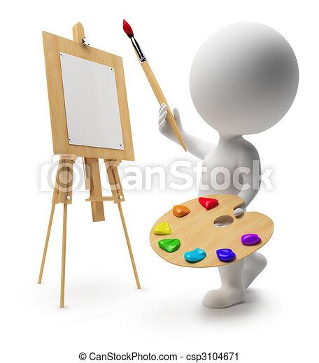 mały, 3d, -, malarz, ludzie - csp3104671