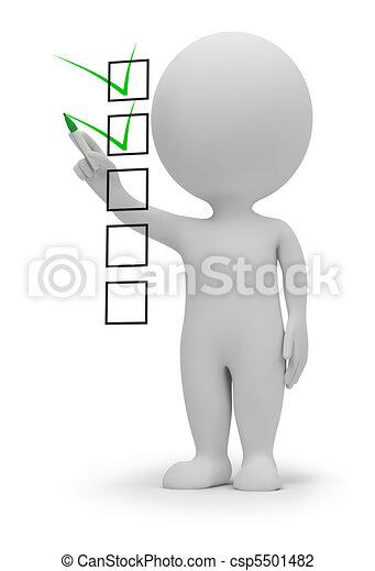 mały, checklist, 3d, -, ludzie - csp5501482