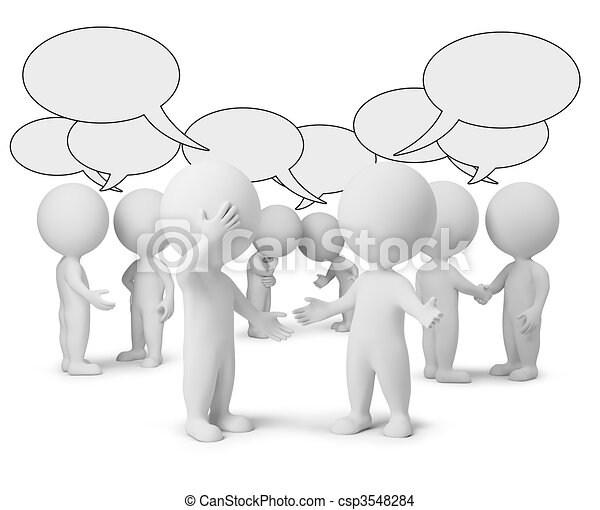 mały, dyskusja, 3d, -, ludzie - csp3548284