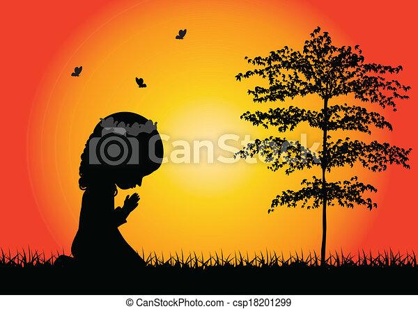 mały, modlący się, dziewczyna, sylwetka - csp18201299