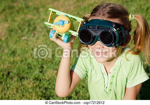 mały, zabawka, dziewczyna, samolot, siła robocza - csp17212612