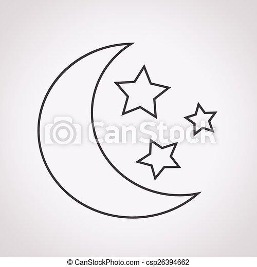 maan, ster, pictogram - csp26394662