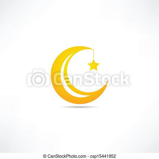 maan, ster, pictogram - csp15441952