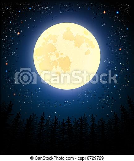 maan, volle, forest., dennenboom, shines - csp16729729