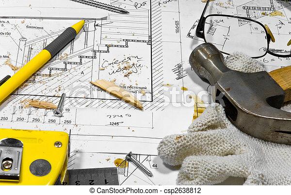 maatregel, werkjes, zaag, anders, werkende, cassette, schroeven, tools:, hobby, potlood, beschermend, workbench., op, timmerman, ruller, stof, langs, blauwdruken, grasses., handschoenen, hummer, het liggen - csp2638812