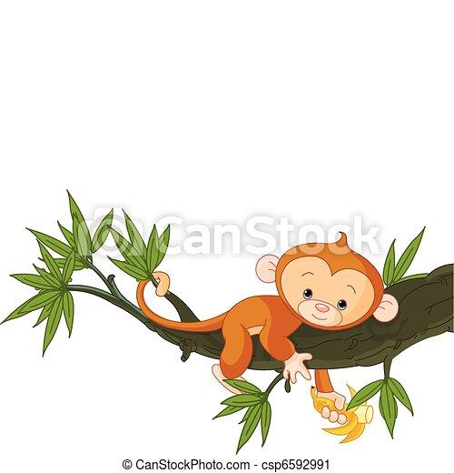macaco, bebê, árvore - csp6592991
