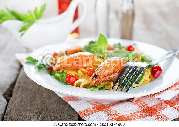Macaroni with shrimps - csp15374900