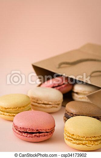 Macarons out of a bag - csp34173902