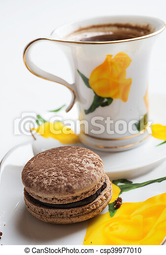 macaroon cake with cup of coffee - csp39977010