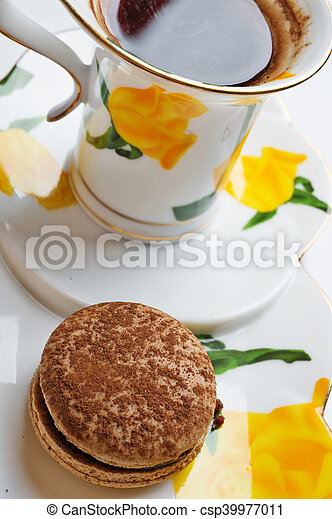 macaroon cake with cup of coffee - csp39977011
