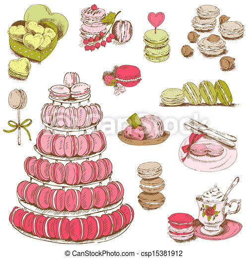 Macaroons and and Dessert Collection - for design and scrapbook - hand drawn in vector - csp15381912