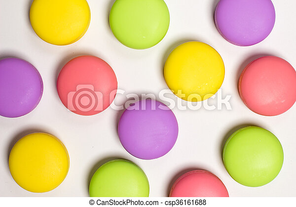 Macaroons Sweet Cakes In Different Colors White Background Food