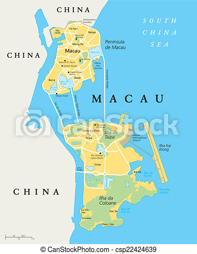 Macau Political Map Special Administrative Region Of The People S