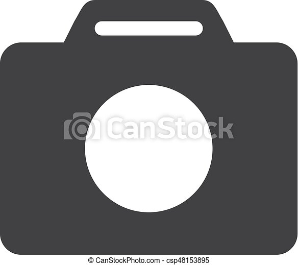 macchina fotografica, illustrazione, fondo., vettore, nero, bianco, icona - csp48153895