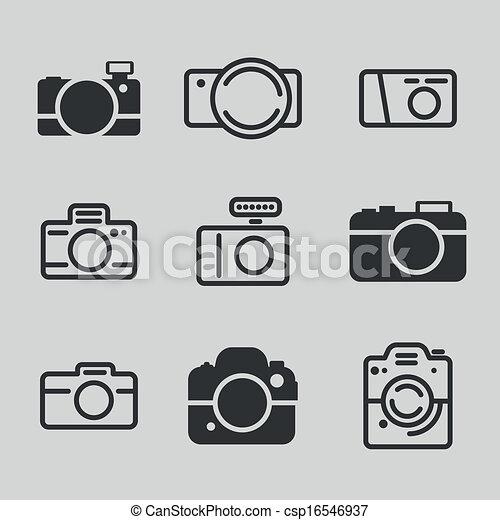 macchina fotografica, moderno, icone - csp16546937