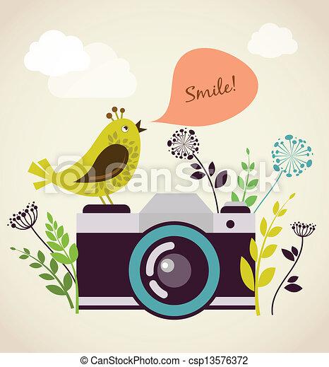 macchina fotografica vendemmia, vecchio, uccello - csp13576372