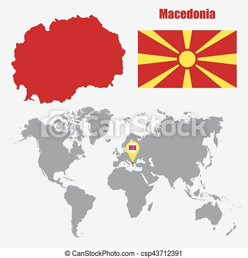 Macedonia Map On A World Map With Flag And Map Pointer Vector