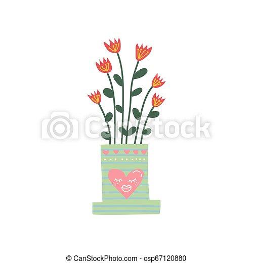 Planta de la casa de flores creciendo en una bonita maceta de flores, elemento de diseño para ilustración de vectores de decoración interior natural - csp67120880