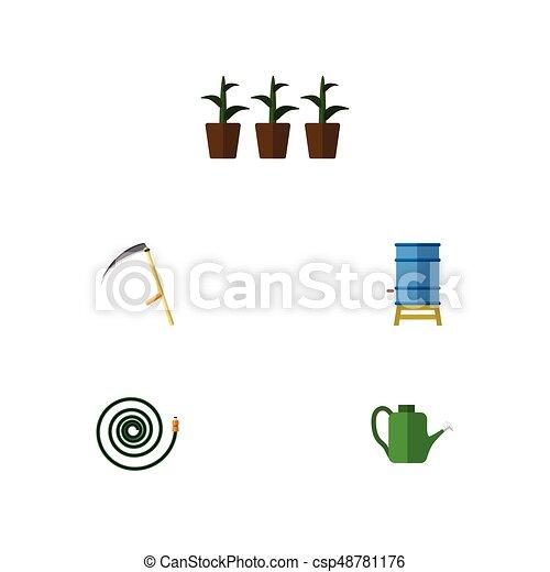 Granja de iconos planas de manguera, maceta, protector y otros objetos vectoriales. También incluye guadañas, puede rescatar, elementos de contenedores. - csp48781176