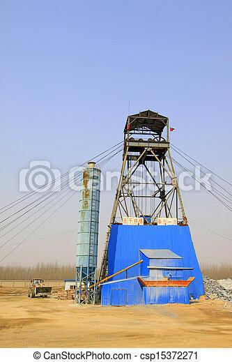MACHENG - MARCH 26: Drilling derrick in MaCheng iron mine March 26, 2013, Luannan County, Hebei Province, China - csp15372271
