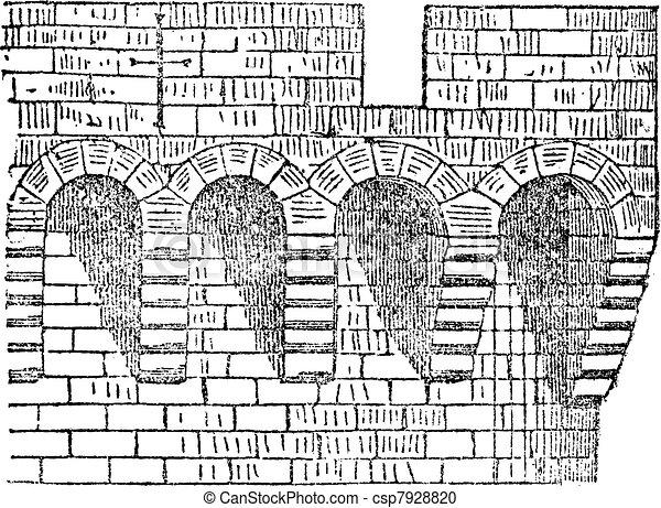 Machicolation the enclosure of Avignon, vintage engraving. - csp7928820