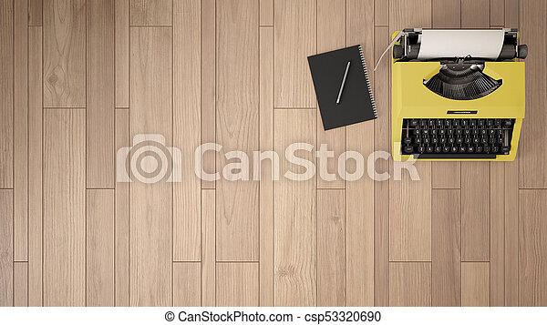 Machine écrire sommet bureau bloc notes writer. arrière plan