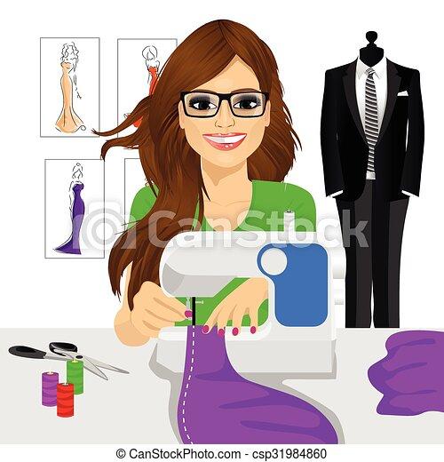 Machine couturi re couture femme utilisation coudre couturi re femme pourpre couture - Dessin couturiere ...