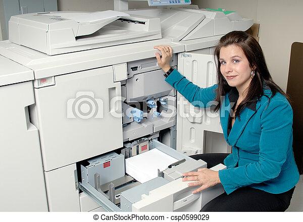 machine, fotokopie, vrouw - csp0599029
