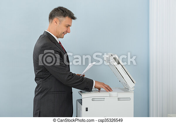 machine, gebruik, fotokopie, kantoor, zakenman - csp35326549