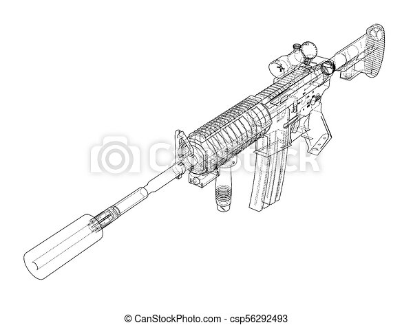 Machine Gun  3d illustration