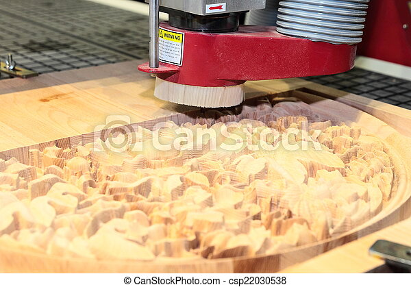 Machine is drilling wood - csp22030538