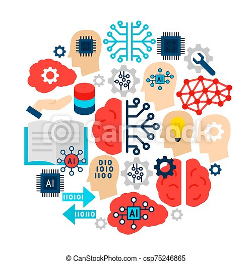 Machine Learning Icons Circle - csp75246865