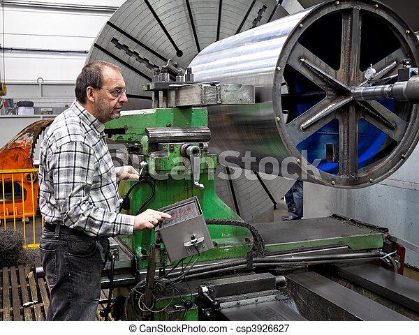 machine., moudre, plus vieux, industrie, métal, cnc, ouvriers - csp3926627
