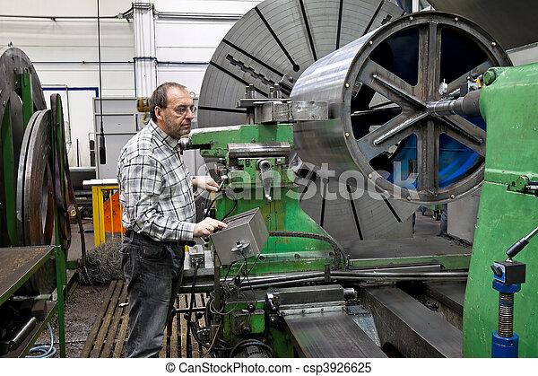 machine., moudre, plus vieux, industrie, métal, cnc, ouvriers - csp3926625