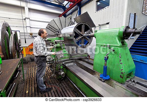 machine., moudre, plus vieux, industrie, métal, cnc, ouvriers - csp3926633