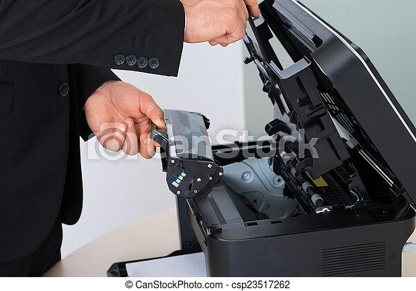 machine, repareren, fotokopie, patroon, zakenman - csp23517262