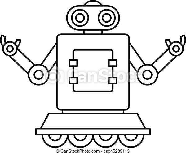 machine robot on wheels icon outline style machine robot vector rh canstockphoto com robovector laser robot vector art
