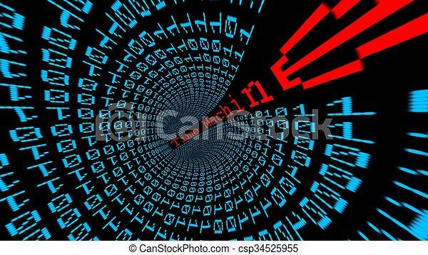 machine temps, tunnel, données - csp34525955