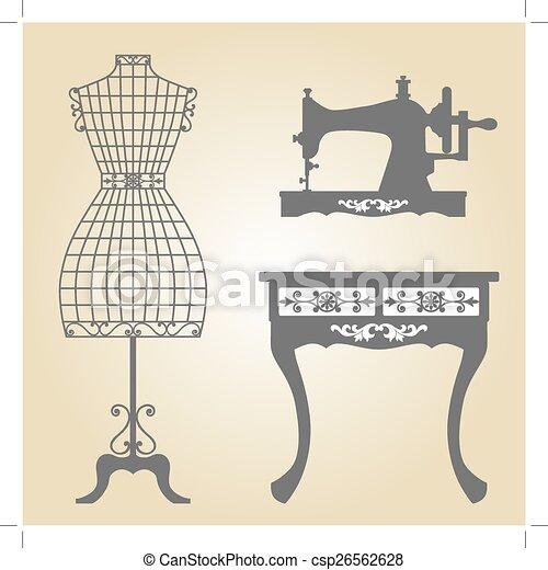 Super Illustration Vecteur de machine, vendange, couture, mannequin  VH12