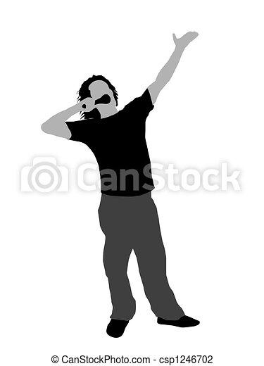 Hombre en pose de canto - csp1246702