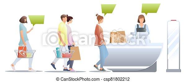 macho, compras, aislado, cesta, anti-theft, clientes, concepto, compras, esperar, vector., blanco, tienda, store., fondo., tienda, hembra, cajero, línea, escritorio, estante, sensor - csp81802212