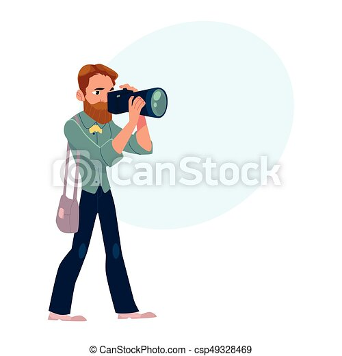 Macho, cuadros, toma, trabajo, fotógrafo, cámara, disparando, hombre ...