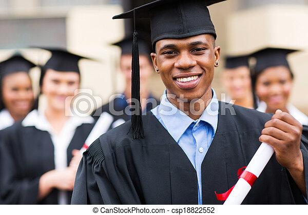 macho, graduado, americano africano - csp18822552