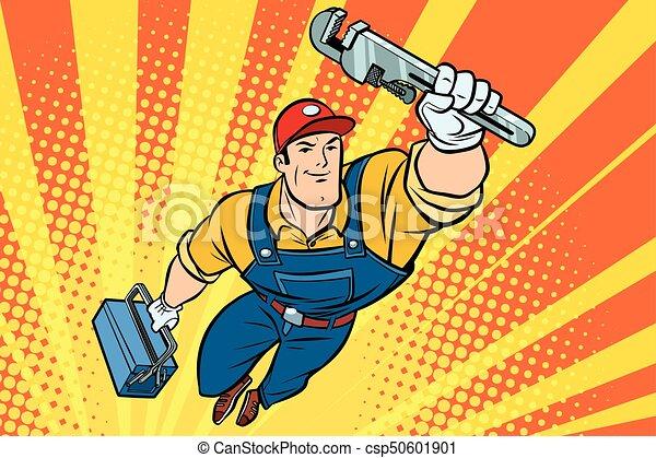 Un superhéroe fontanero con una llave inglesa - csp50601901
