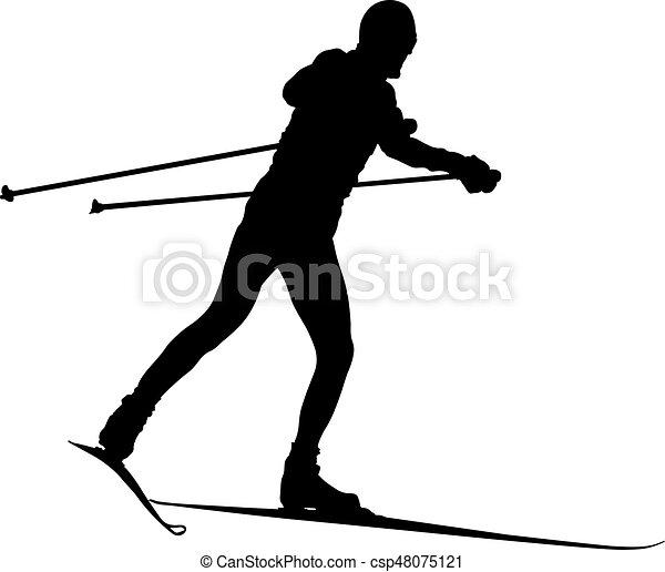 Esquiador masculino de silueta negra - csp48075121