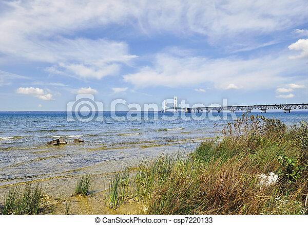 mackinac, tengerpart, tó - csp7220133