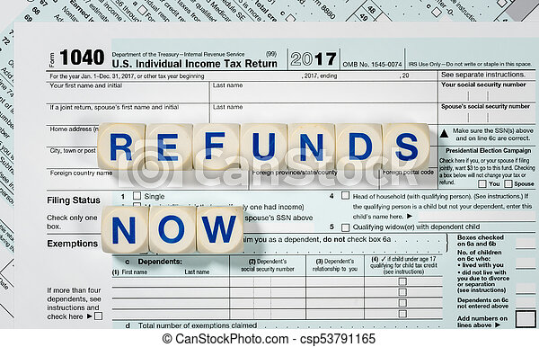 Macro Close Up Of 2017 Irs Form 1040 With Refunds Now Letters Close