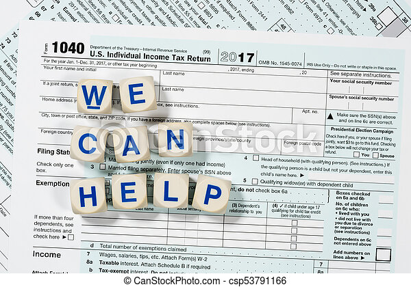form 1040 help  Macro close up of 17 IRS form 17 with WE CAN HELP letters