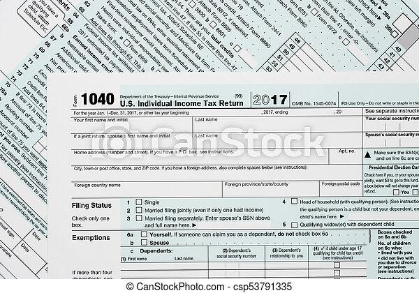 Macro Close Up Of 2017 Irs Form 1040 Close Macro Photo Of Stock