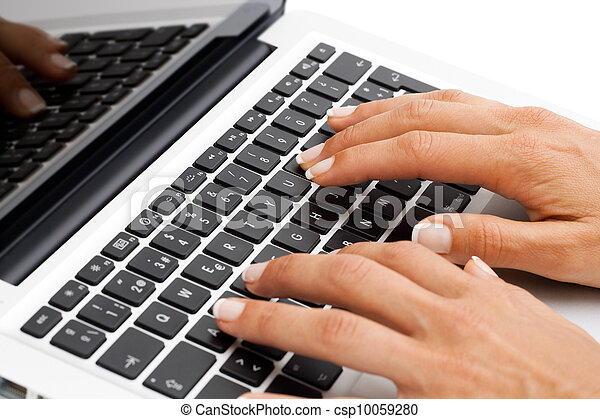 Macro close up of female hands on keyboard. - csp10059280
